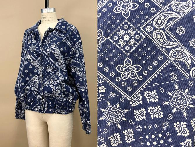 Vintage 1960s Blue Bandana Print Denim Jacket, Vintage Bohemian Hippie, Psychedelic Paisley Print, Patchwork Novelty Print, Size Unisex XL by MobyDickVintage