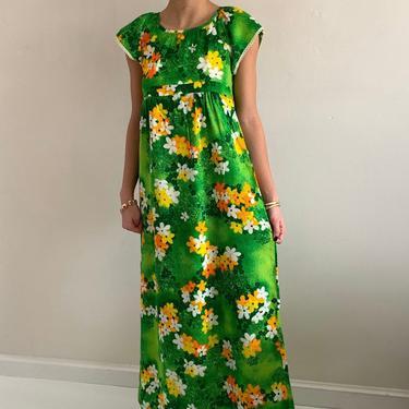 70s barkcloth Hawaiian maxi dress / vintage green tropical floral empire maxi sundress house muu muu dress | XXS XS by RecapVintageStudio