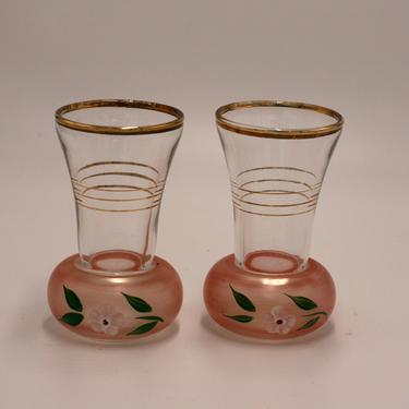 vintage pair of hand painted bud vases/frosted pink glass with gold by suesuegonzalas