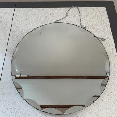 "1930s Art Deco Mirror – 18"" Round Vintage Scalloped Mirror, Chained Mirror, Vintage Clasped Mirror by ErraticStaticVintage"