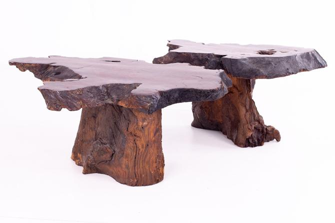 George Nakashima Style Mid Century Live Edge Side End Tables - Pair by ModernHill