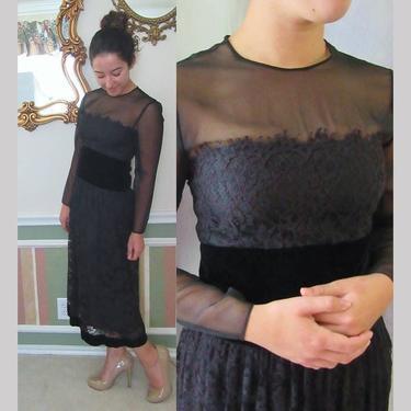 Black Lace Sheer Illusion Cocktail Dress, Velvet Cummerbund Trim, Sheer Overlay, Bill Blass by GabAboutVintage
