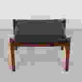 Danish Modern Ottoman / Stool in Teak with Black Upholstery