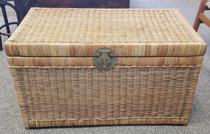 Item #CW30 Vintage Wicker Chest c.1950s