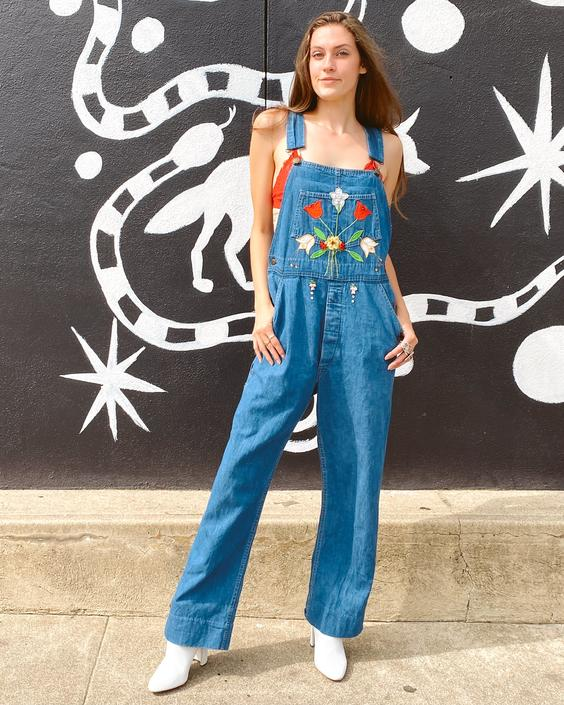 70's Embroidered & Bedazzled Overalls