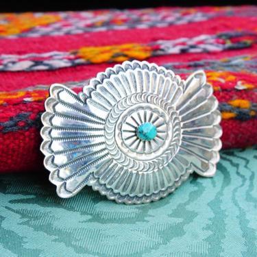 "Vintage Navajo Bilson Kinsel Sterling Silver & Turquoise Belt Buckle, Huge Hammered Silver Concho Buckle, Hand Stamped Sterling BK, 3 3/4"" W by shopGoodsVintage"