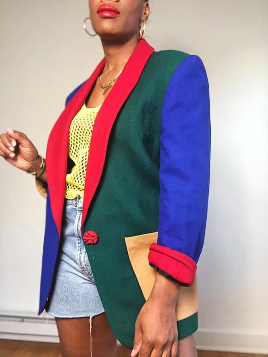 Vintage 1980s 1990s 90s Primary Color Block Wool Blazer Single Button Cuff Sleeve Unisex Womens Medium Rainbow Red Orange Blue Green Tan by KeepersVintage