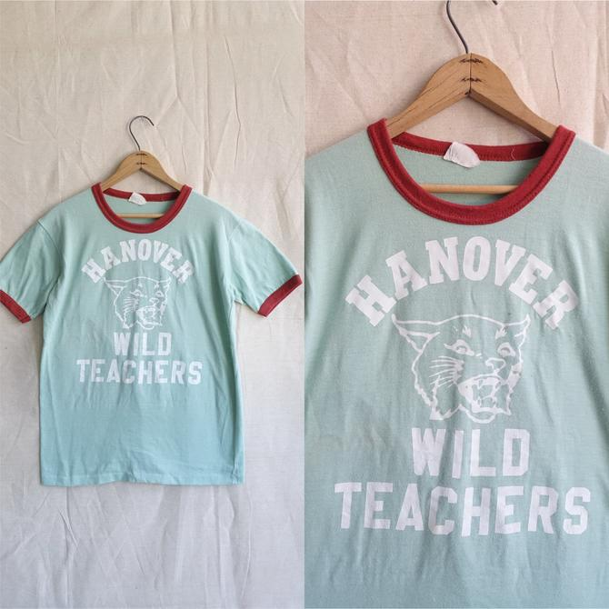 Vintage Mint Green Ringer T Shirt/ Hanover PA Wild Cats Teachers Athletic Shirt/ Single Stitch Size Medium by bottleofbread