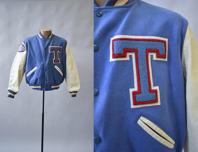 blue t bird 69 letterman jacket leather and wool jacket