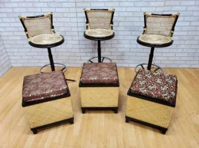 Mid-Century Rare Set of 3 Arthur Umanoff Styled Woven 2 Toned Rattan Metal Base Swivel Bar and Foot Stools - 6 Pc