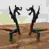 Antique Dragons / Griffins Andirons Pair