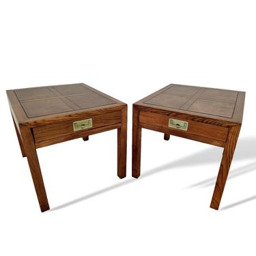 Henredon Parquetry Top Walnut Burl Wood Campaign End Tables by VeronaVintageHome