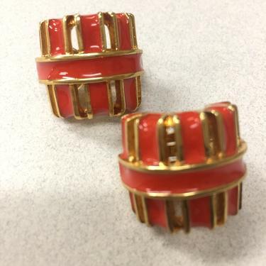 Vintage ST JOHN Clip On Earrings Pair Signed