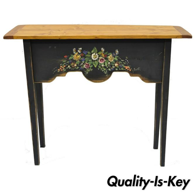 """Country French Hand Painted Floral Shabby Black Chic Pine 36"""" Console Side Table"""