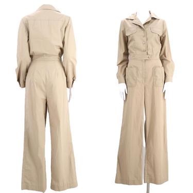 70s khaki safari bell bottom jumpsuit size M / 1970s original crisp cotton flare leg one piece boiler suit outfit medium by ritualvintage