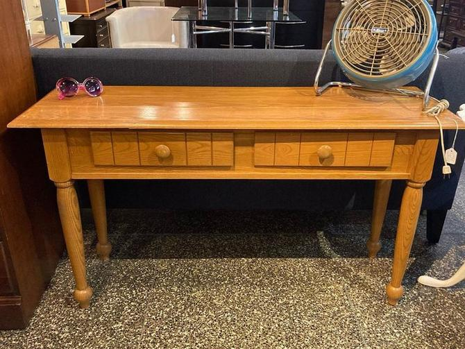 "Oak console. 16"" deep, 52"" wide, 28"" tall"