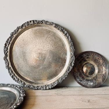 Extra Large Heavy Towle Silverplate Tray | 19 Inch Diameter Silver Tray | Scalloped Edge Round Large Silver Serving Tray | Tarnished by PiccadillyPrairie