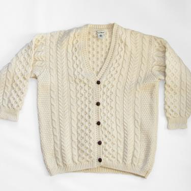 Norra Cardigan — vintage fisherman sweater / LL Bean wool cable knit sweater / oversized chunky wool cardigan / large cozy hand knit sweater by fieldery