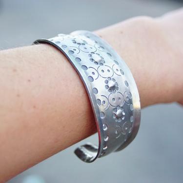 "Vintage Signed Jorgen Jensen 158 Pewter Cuff Bracelet, Handmade Danish Pewter Cuff, Modernist Repousse Cuff Bracelet, Wide, 6 1/4"" L by shopGoodsVintage"