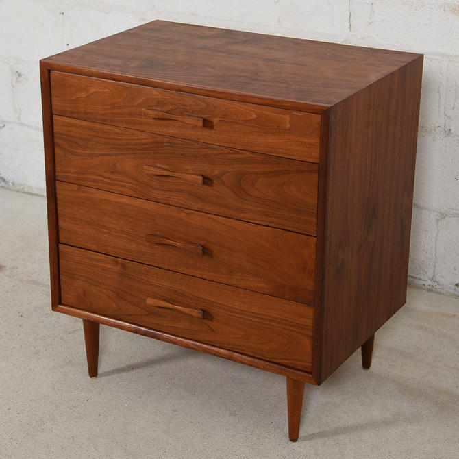 Compact Walnut 4-Drawer Chest w/ Bow-Tie Pulls