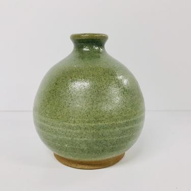 Vintage Studio Pottery Vase/ Green/ Wabi Sabi/ Home Decor by RamblinFeverMN