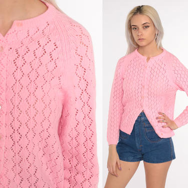 Pink Pointelle Cardigan Sweater 70s Open Weave Sheer Bright Pink Sweater Vintage Acrylic Knit 80s Slouchy Grandma Slouch Small by ShopExile
