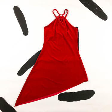 90s Red Velour Strappy Asymmetrical Tank Dress / Silver Tone Circle Detail / Halter / Cut Out / y2k / Club Kid / Velvet / Destiny's Child by badatpettingcats