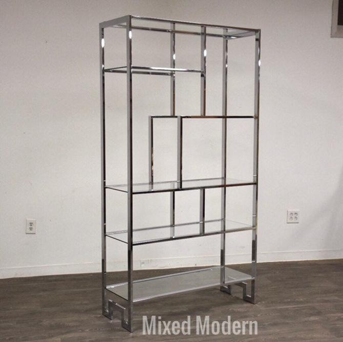 Milo Baughman Chrome & Glass Etagere by mixedmodern1