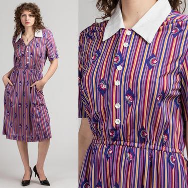 70s Purple Striped Shirtdress - Medium to Large   Vintage Short Sleeve Collared Pocket Midi Dress by FlyingAppleVintage