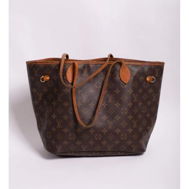 Vintage Louis Vuitton Neverfull Canvas and Leather Monogram Large Tote Bag MM LV Logo Carryall by backroomclothing