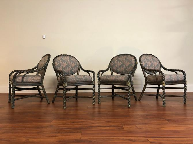 McGuire Olive Twisted Rattan Chairs, Set of 4 by Vintagefurnitureetc