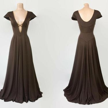 Vintage 70s Chocolate Brown Nylon Jersey Deep Plunge Maxi Lounge Dress | 1970s Sexy Hostess Nightgown | Studio 54 | Blanche Ralph Montenero by IntrigueU4Ever