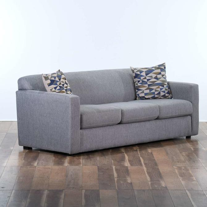 Contemporary Minimalist Grey Couch W Pillows