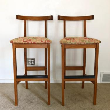 Danish modern Findahls bar stool seating chair mid century set of 2 by TripodModern