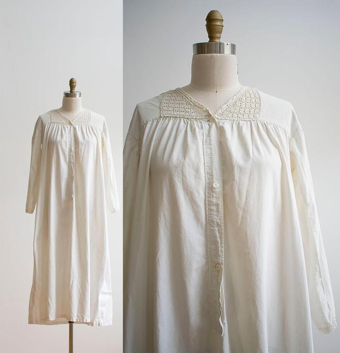 Vintage Edwardian Nightgown / White Cotton Nightgown / Edwardian Nightgown / Vintage Undergarment / Victorian Nightgown by milkandice