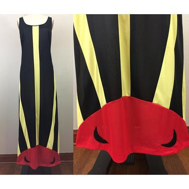 Vintage 70s Sun and Moon Novelty Nightgown Maxi Dress Sundress 1970s Formfit Rogers M by FlashbackATX