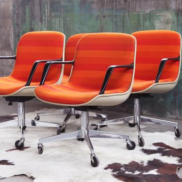 Mid Century Vintage 1975 Steelcase Executive office Chair 70s Knoll orange red textile Pollock Armchair CHROME MCM Danish Modern Post Modern by CatchMyDriftVintage