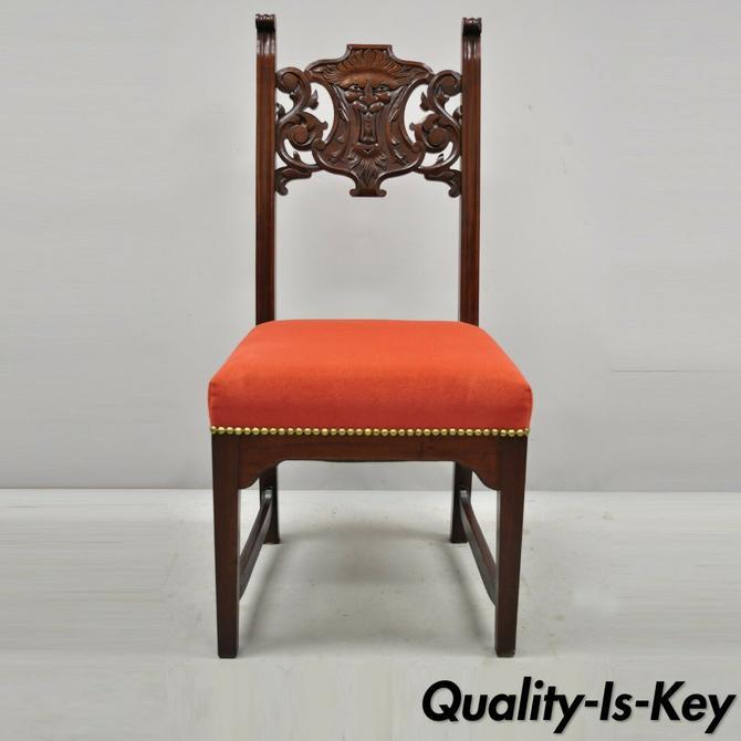 Antique Renaissance Revival Lion Northwind Carved Walnut Figural Side Chair