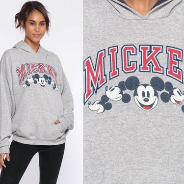 Mickey Mouse HOODIE Sweatshirt Walt Disney Sweatshirt 80s Hooded Sweater Shirt Cartoon Grey 90s Vintage Small by ShopExile