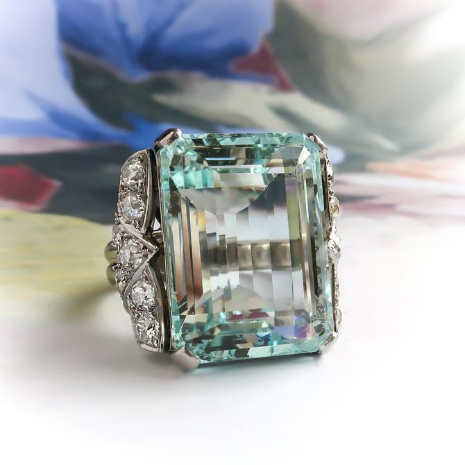 Midcentury Huge Emerald Cut Aquamarine and Diamond Bow Statement Ring Platinum by YourJewelryFinder
