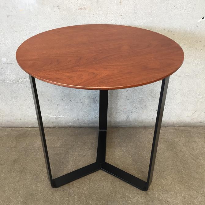 Mid Century Three Legged Wood Top Side Table