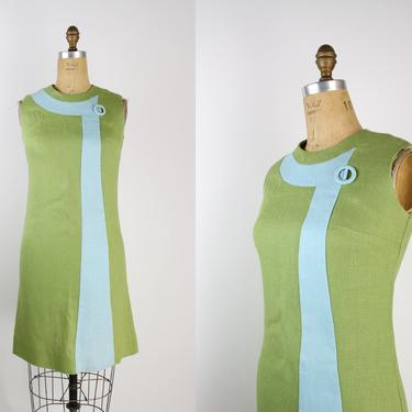 50s Colorblock Mini Dress / 60s Dress / MOd / 50s Green and Blue / Space Age / Size S/M by PARASOLvintage