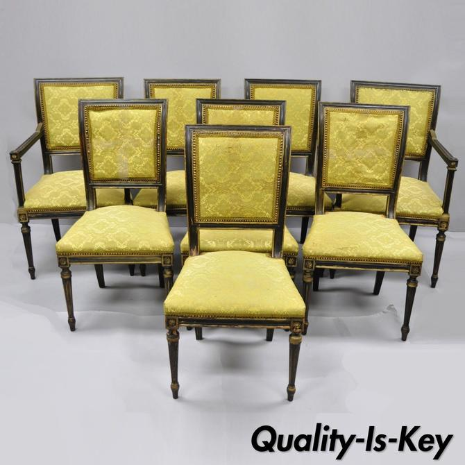 Eight French Louis XVI Regency Style Upholstered Square Back Dining Chairs