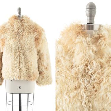 Vintage 1970s Coat   70s Curly Shaggy Mongolian Lamb Fur Beige Cream Warm Winter Almost Famous Boho Jacket (small/medium) by BirthdayLifeVintage