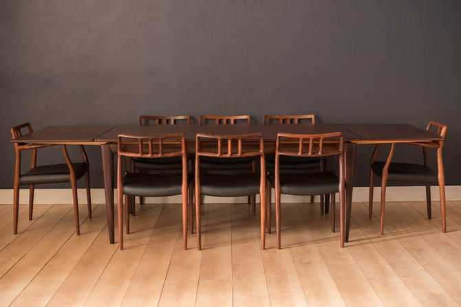 Vintage Danish Rosewood Extending Dining Table by Niels O. Moller Model 254 by MidcenturyMaddist
