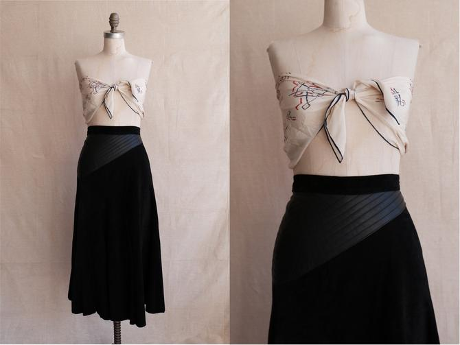 Vintage 80s Suede Midi Skirt with Quilted Leather Waist/ 1980s High Waisted Black Skirt/ Size XS 24 25 by bottleofbread