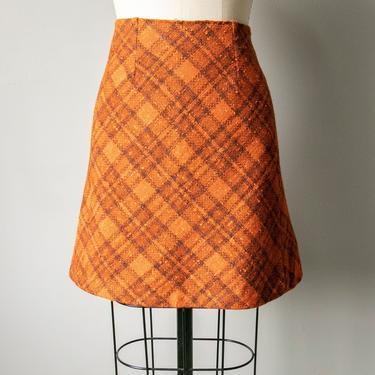 1970s Mini Skirt Plaid Woven Wool XS by dejavintageboutique
