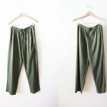 Vintage 90s Silk Pants S M - Olive Green Silk Lounge Pants - Textured Drawstring Casual Pants - 90s Minimalist Clothing- Baggy Pants by MILKTEETHS