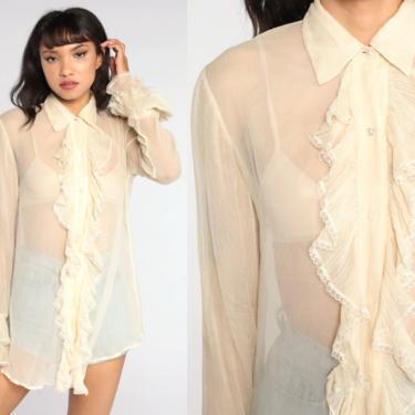 Sheer Silk Blouse 90s Silk Chiffon Shirt Cream Tuxedo Ruffle Top Button Up Vintage Collar Long Sleeve Shirt 1990s Oversized Small by ShopExile