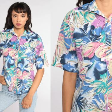 Tropical Floral Shirt Blue Purple Hawaiian Blouse Button Up 80s Vintage Surfer Vacation Short Sleeve Top 1980s Small S by ShopExile